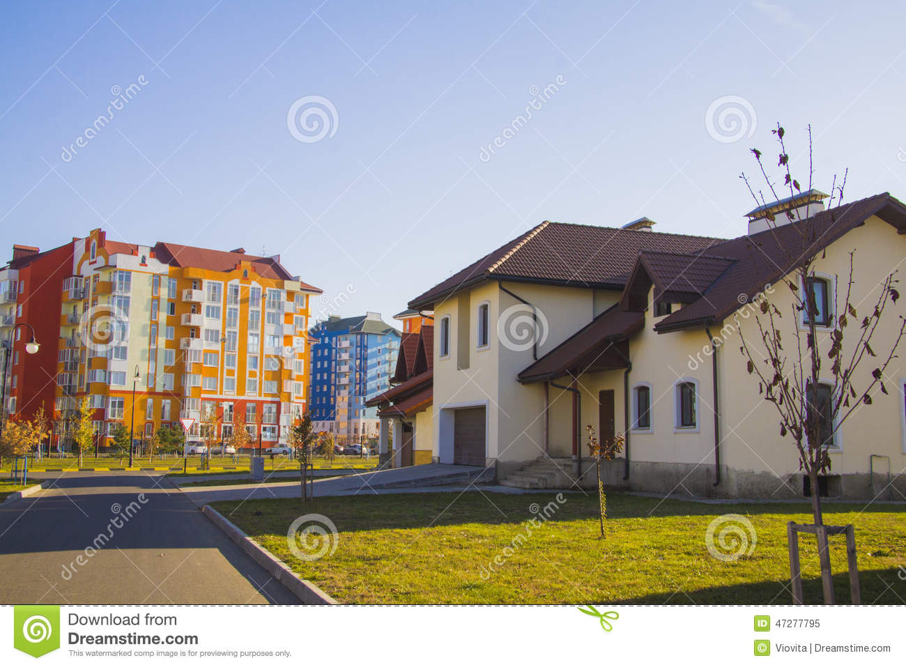 Modern house exterior at street with high rises stock for Exterior background
