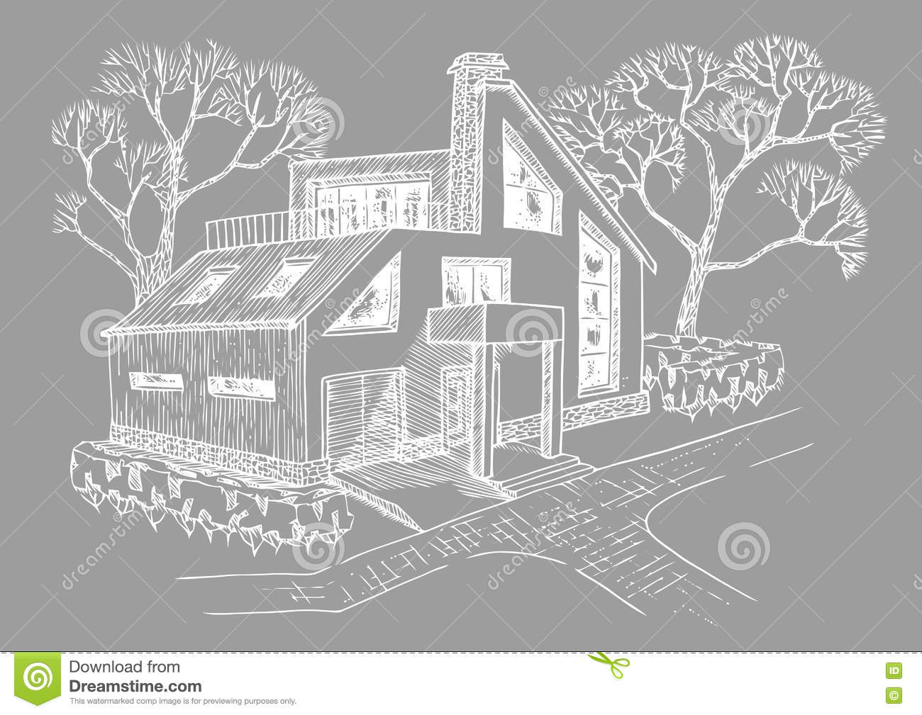 modern house with garage attic and terrace cottage with