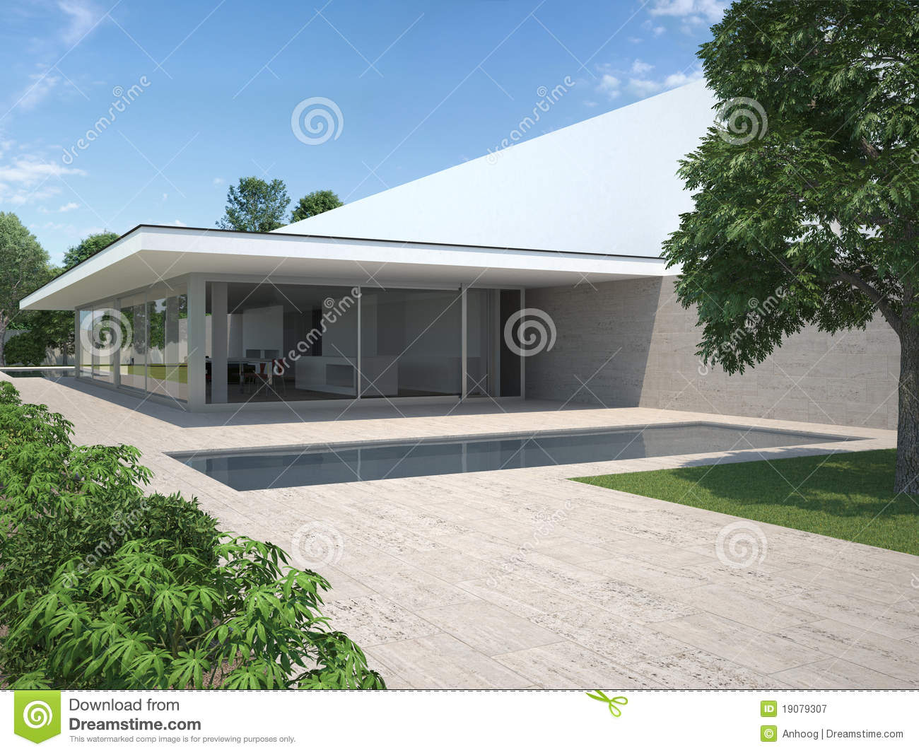 Huis Modern Huis : Modern house with garden and pool stock illustration illustration