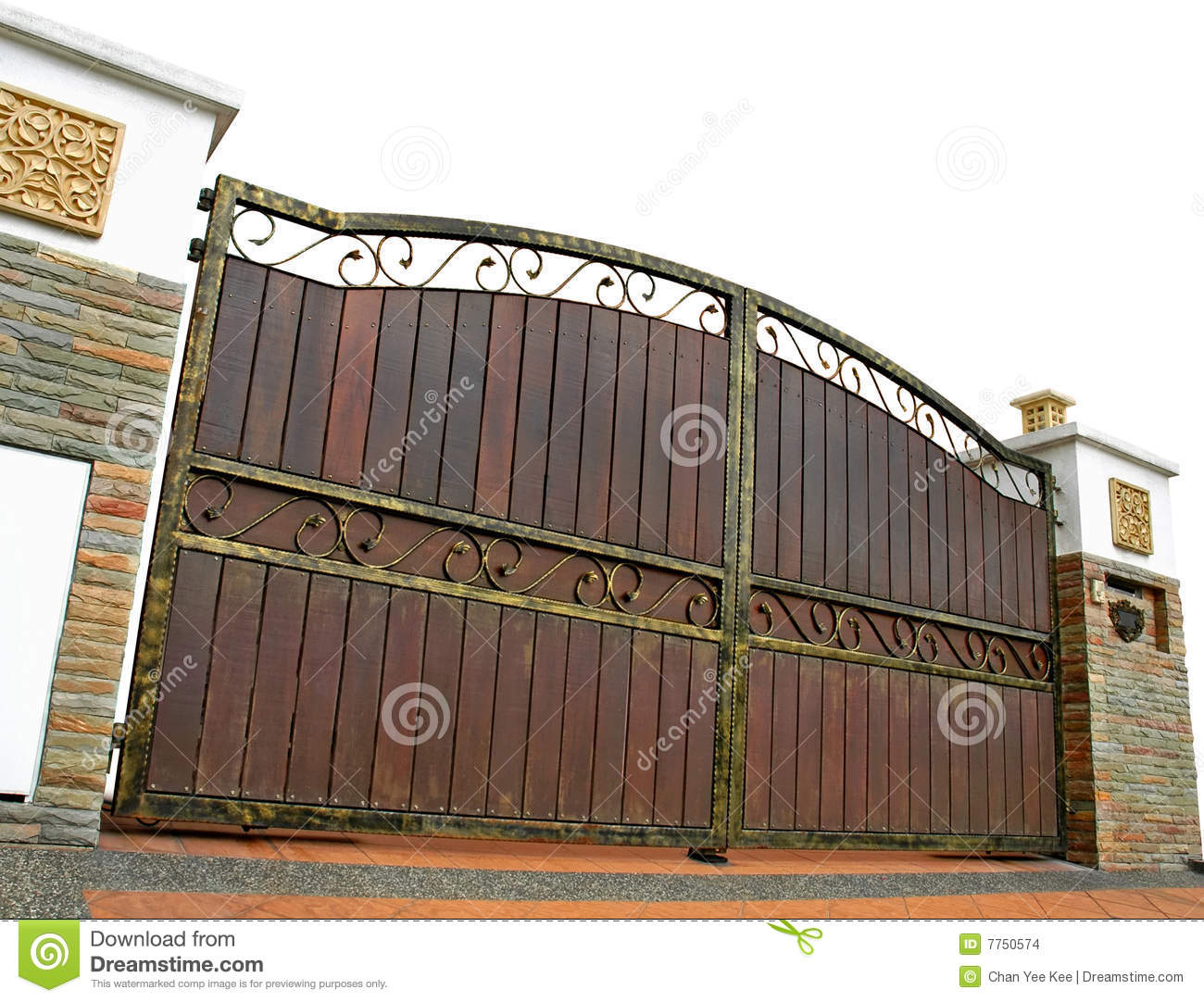 Modern house gate isolated