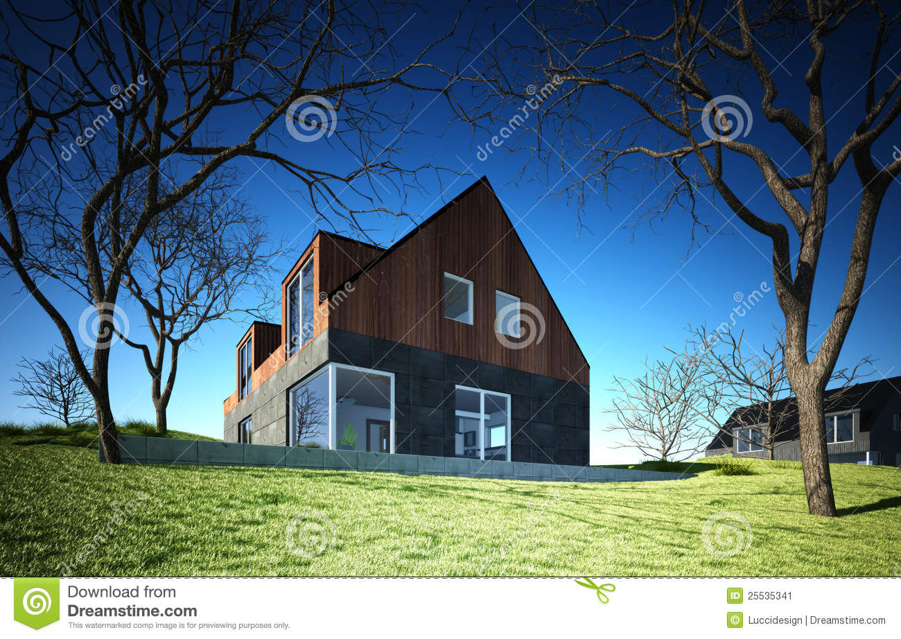 Modern house on hill stock image image 25535341 for Modern house on hill