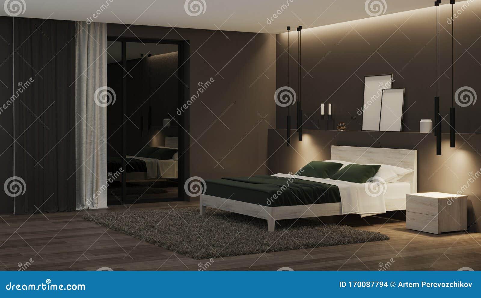 Modern House Interior Bedroom With Dark Walls And Bright Furniture Night Evening Lighting Stock Illustration Illustration Of Dark Comfortable 170087794
