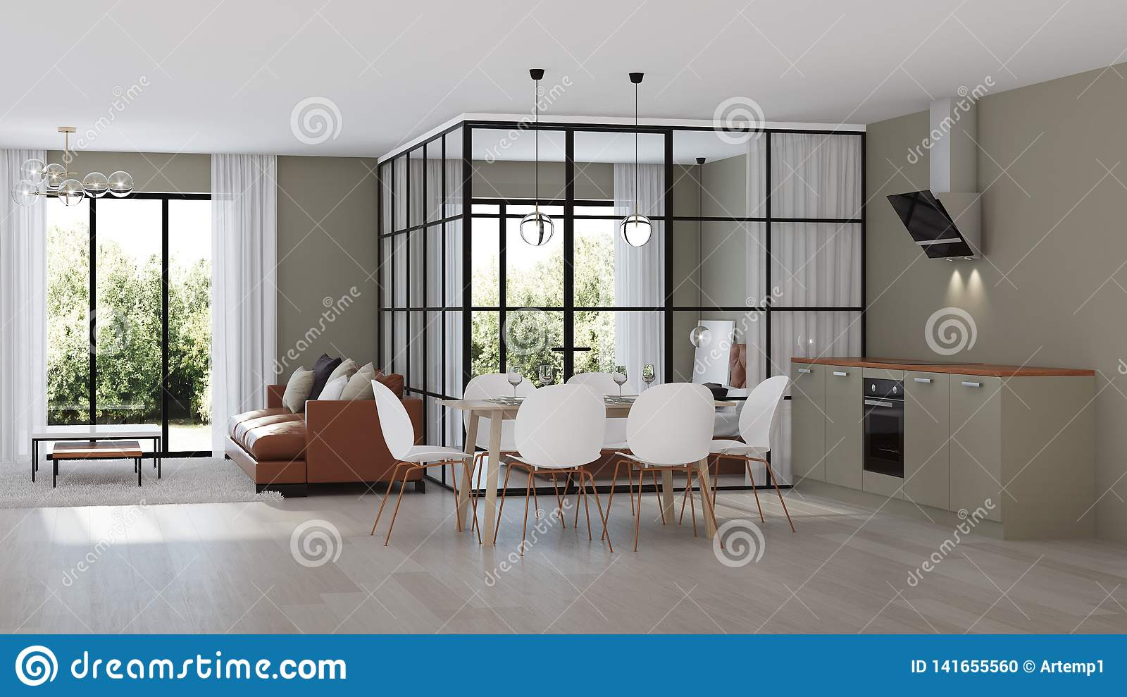 Modern House Interior Bedroom With Glass Partitions Stock Illustration Illustration Of Design House 141655560