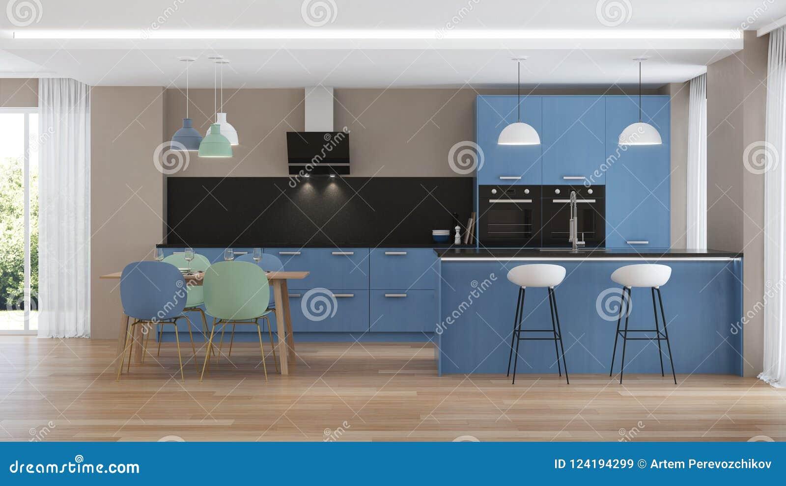 Modern House Interior. Blue Kitchen. Stock Illustration ...