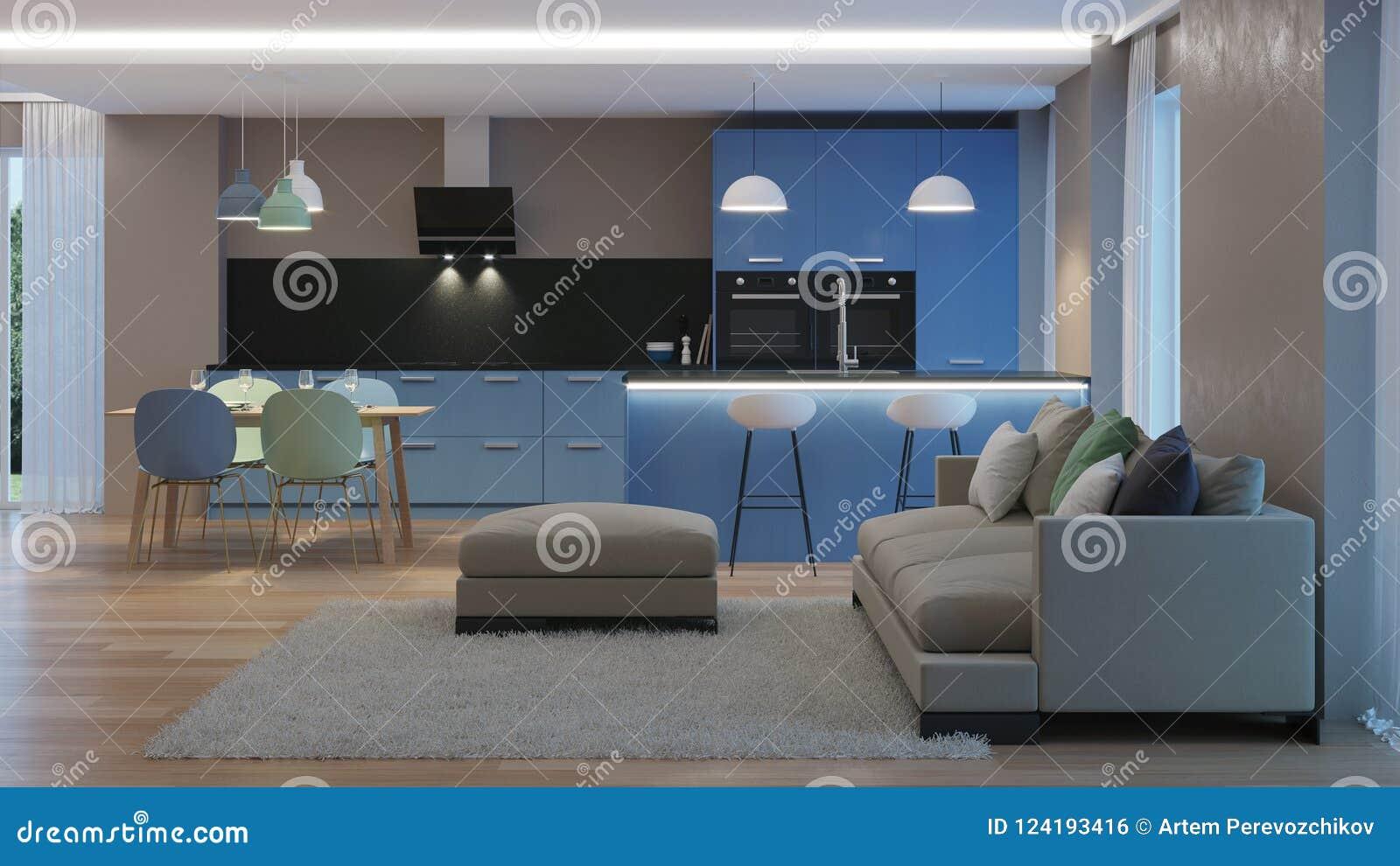 Modern House Interior Blue Kitchen Stock Illustration