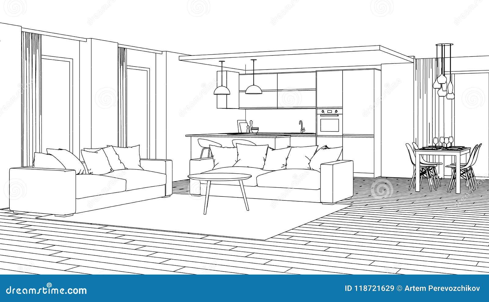Modern house interior design project sketch