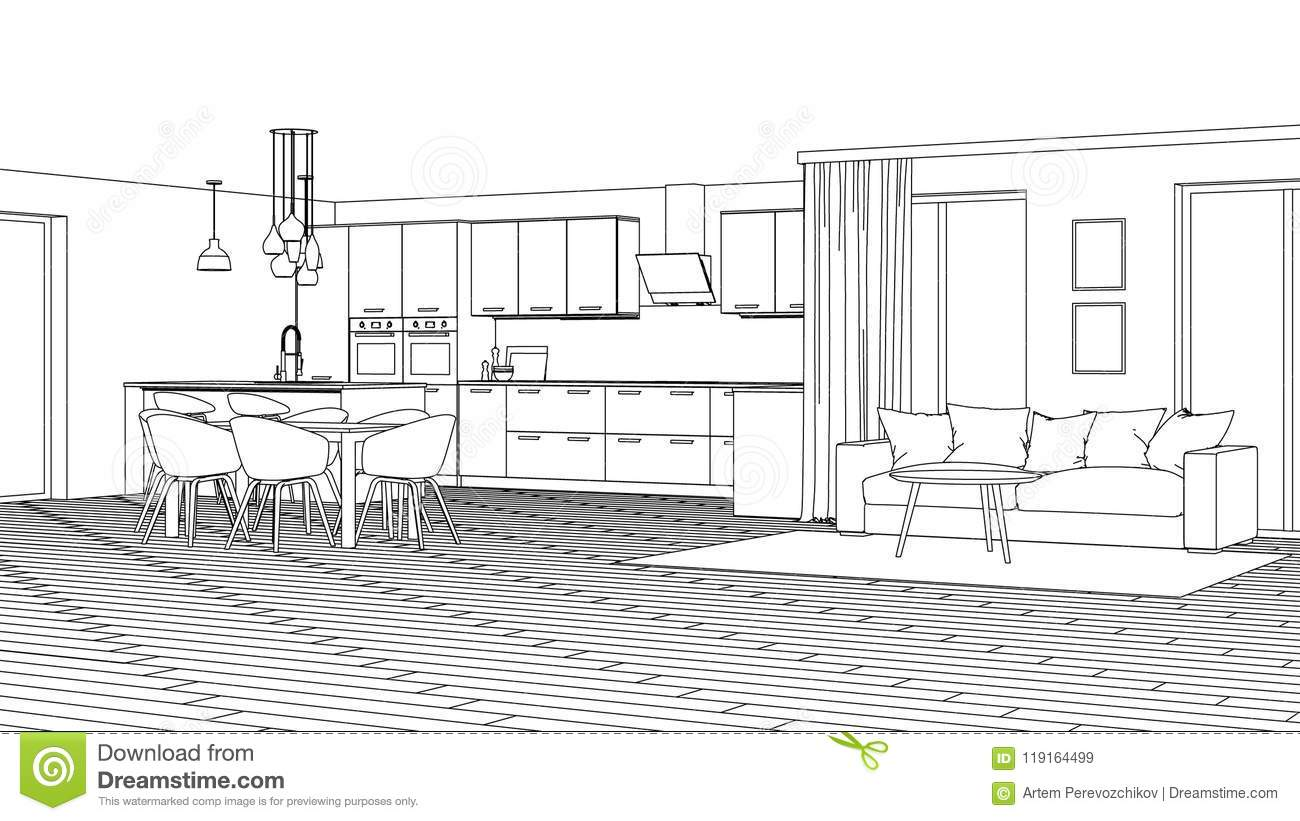 Modern House Interior Design Project Sketch Stock