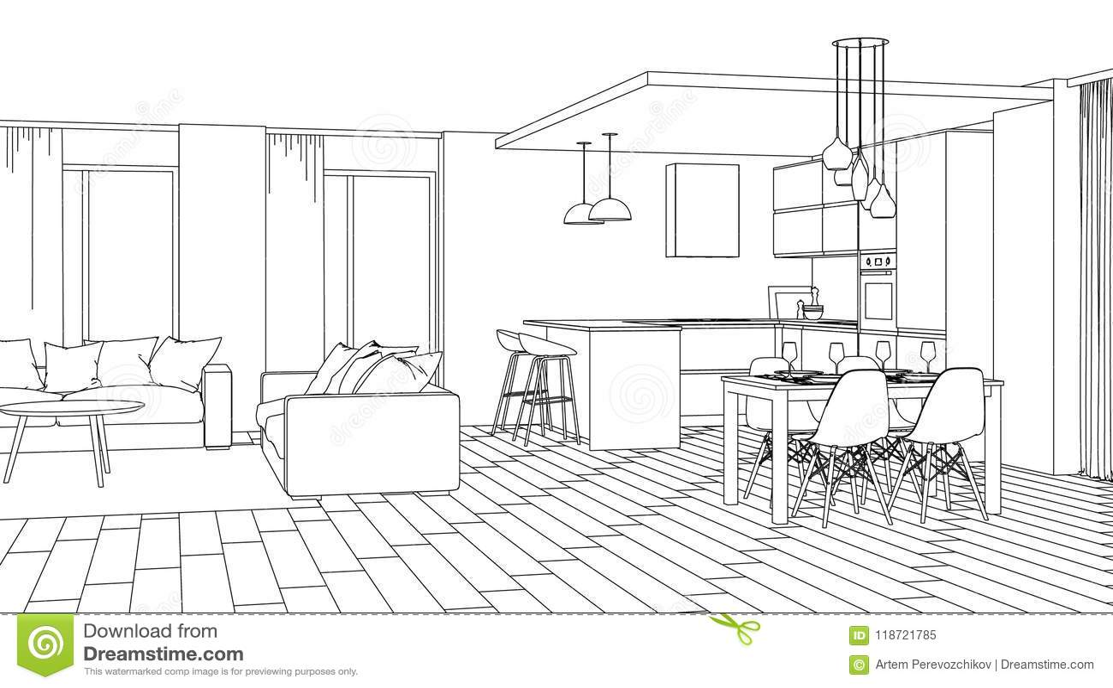 Download modern house interior design project sketch stock illustration illustration of sofa