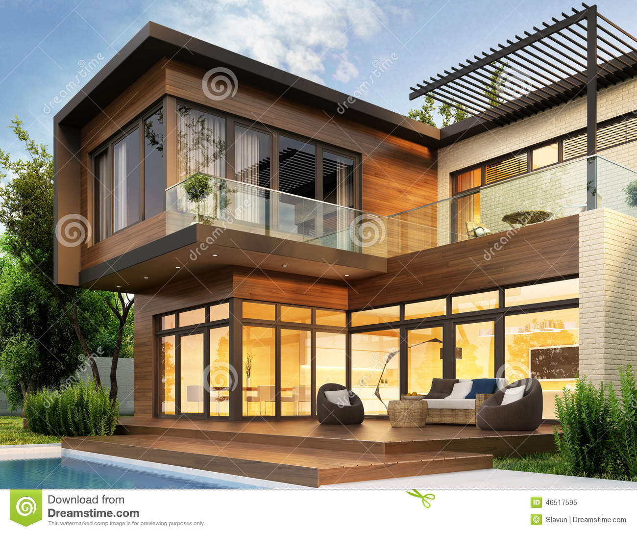A Home That S Modern Inside And Out: Modern House Stock Photo