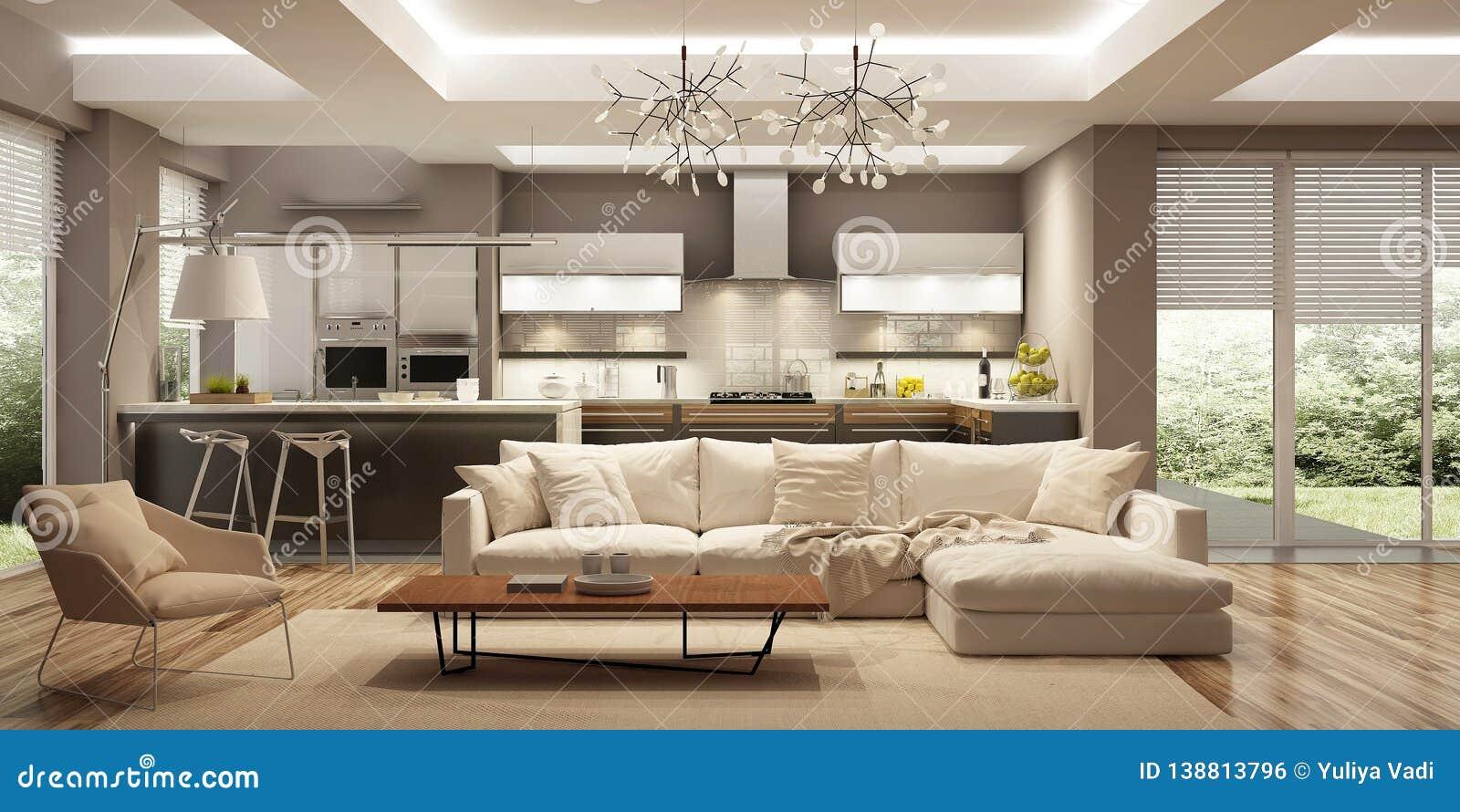 Modern House Interior In Scandinavian Style 3d Rendering