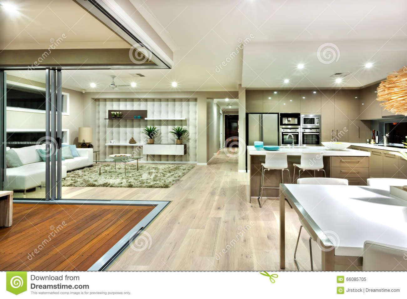 The Modern House Interior Panorama With Kitchen And The Living Room ...