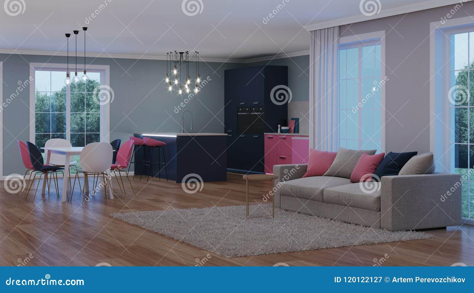 Modern house interior pink kitchen night evening lighting artificial light sources 3d rendering