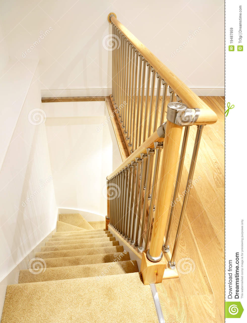 Modern House Interior Stairs With Chrome Railing Royalty Free Stock Images Image 19487959