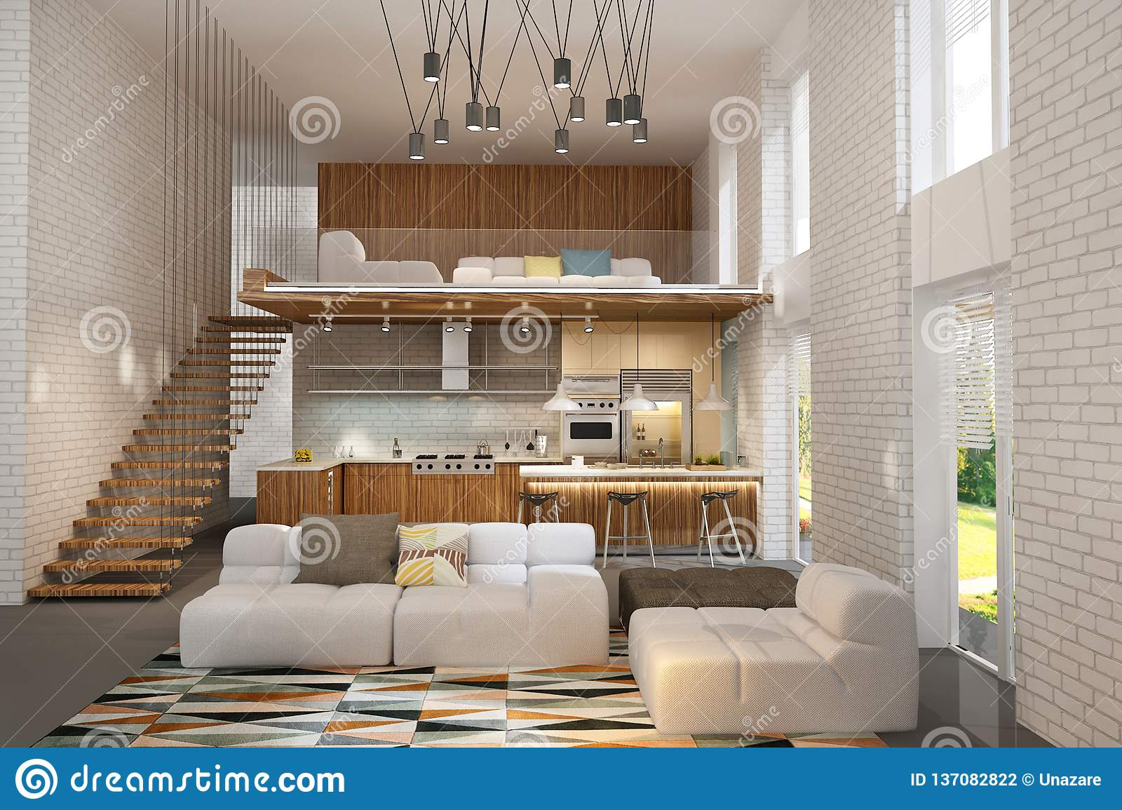 Interior of living room in one space with kitchen made in modern style with scandinavian mood in light colors with brick walls