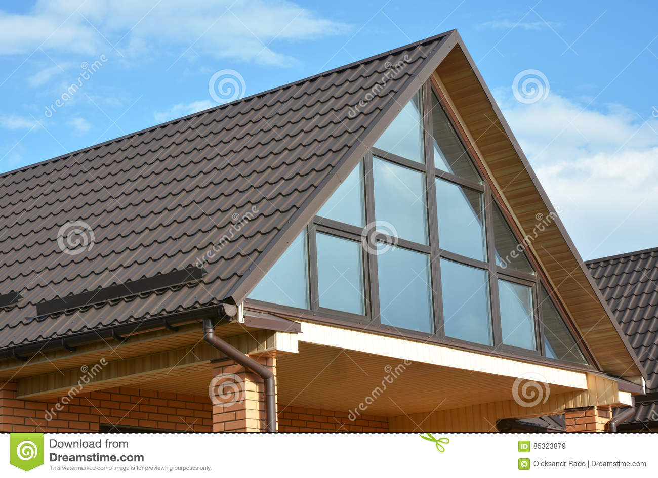 In System Skylights : Modern house with metal roofing panoramic window