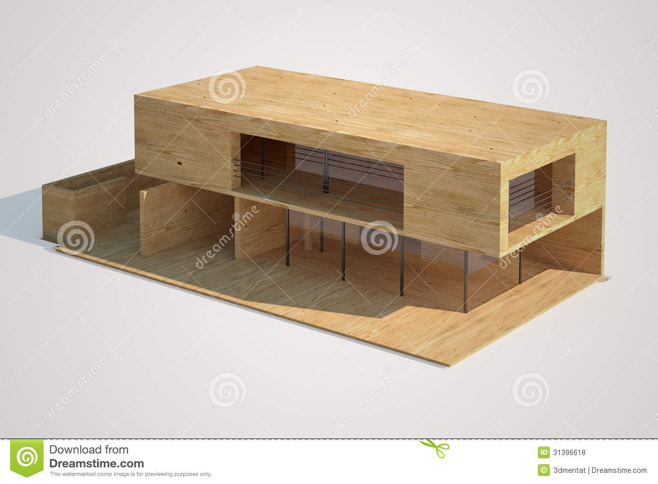 top view of an architectural mock up of a modern house