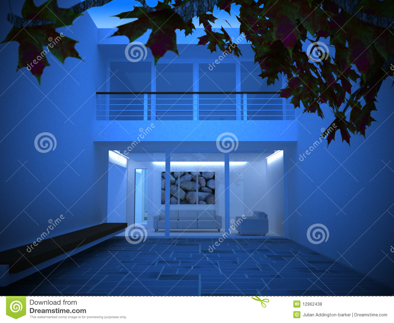A modern house at night royalty free stock photos image for Modern house at night