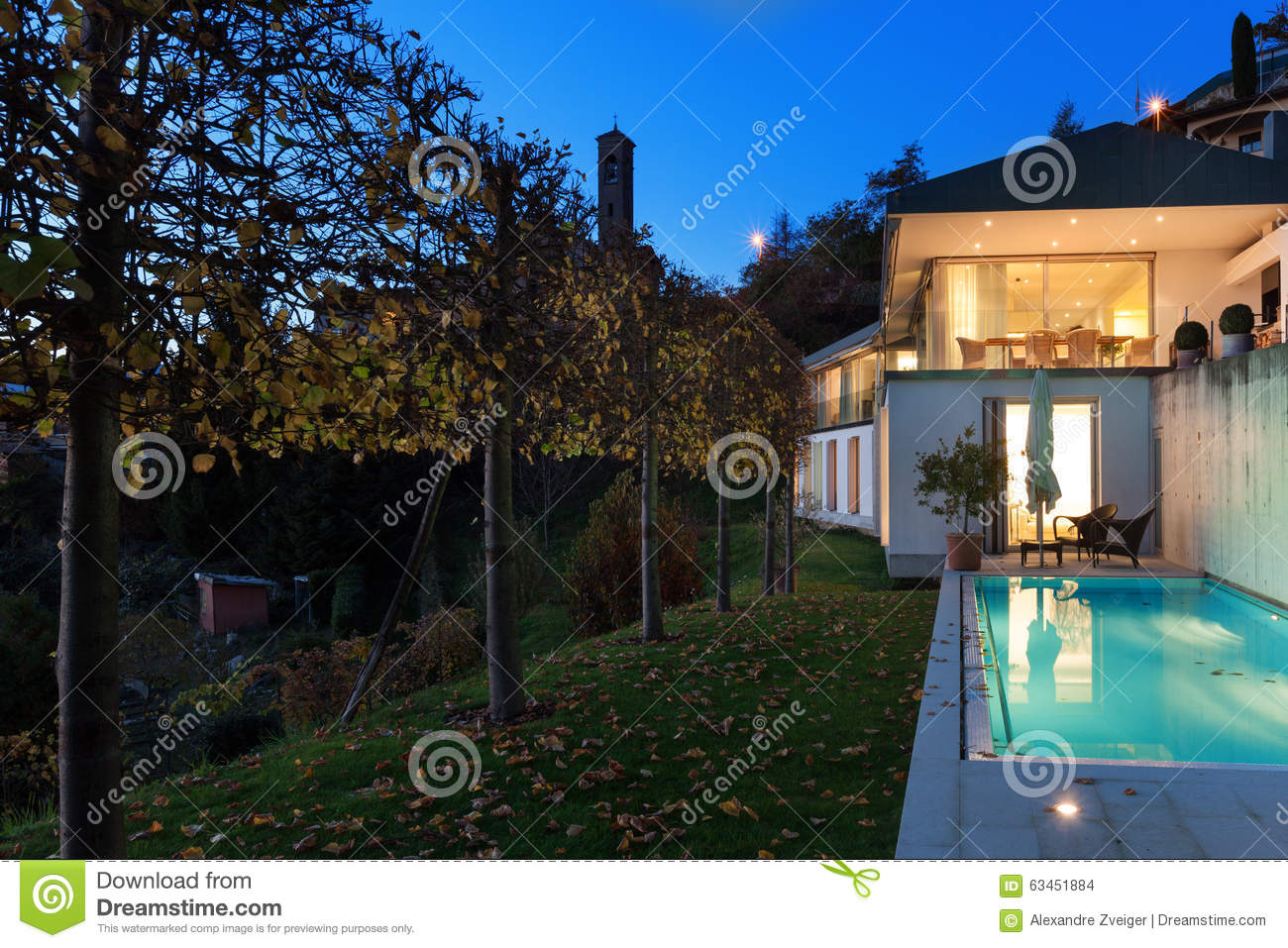 Modern house by night stock photo image 63451884 for Modern house at night