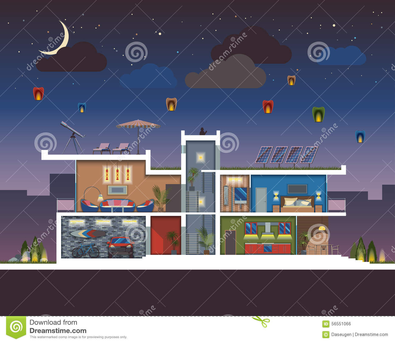 Modern house night stock vector image 56551066 for Modern house at night
