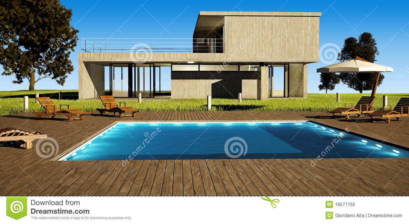 Modern house with pool stock illustration image of for Modern house with swimming pool