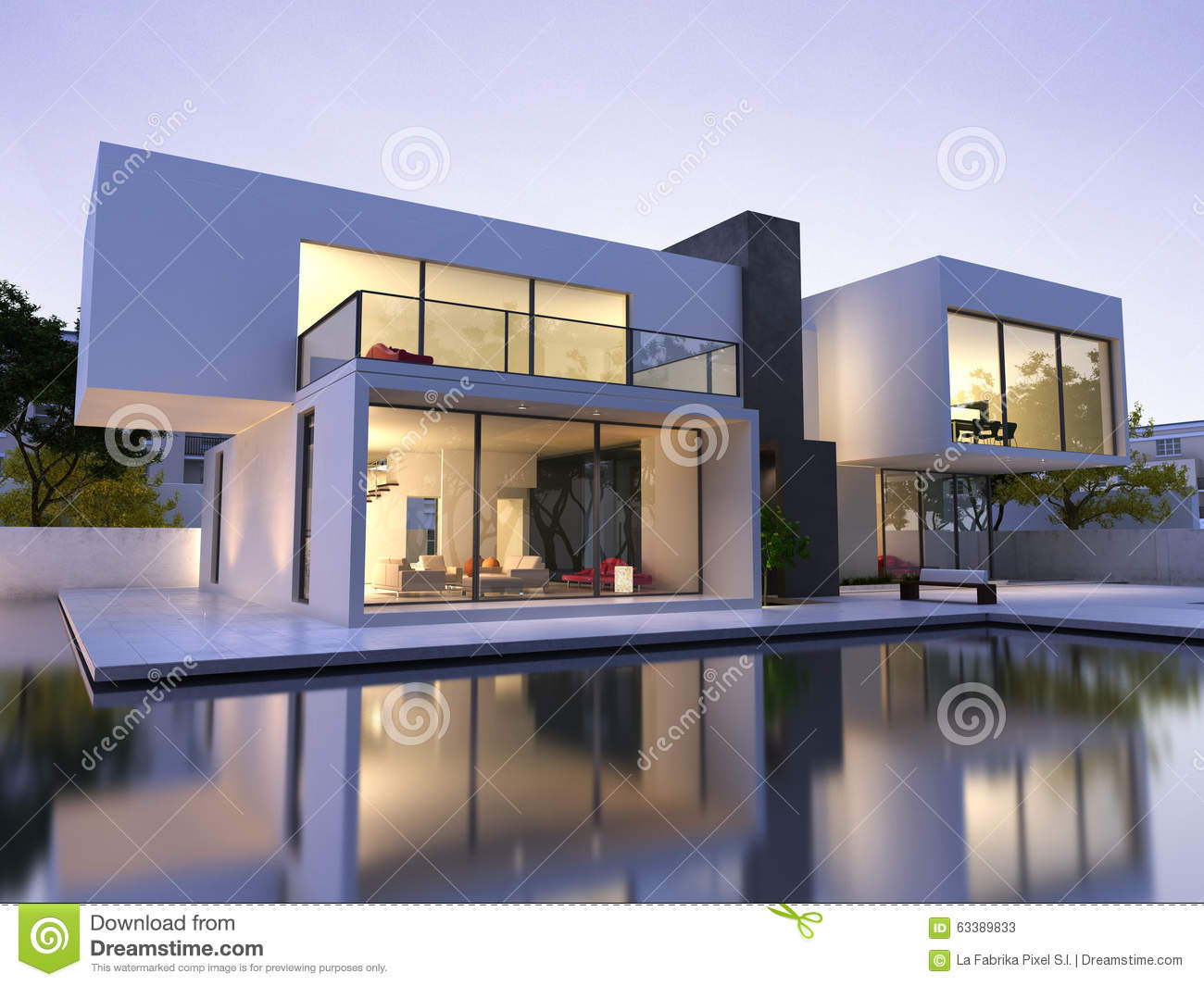 Modern house with pool stock illustration. Illustration of indoor ...