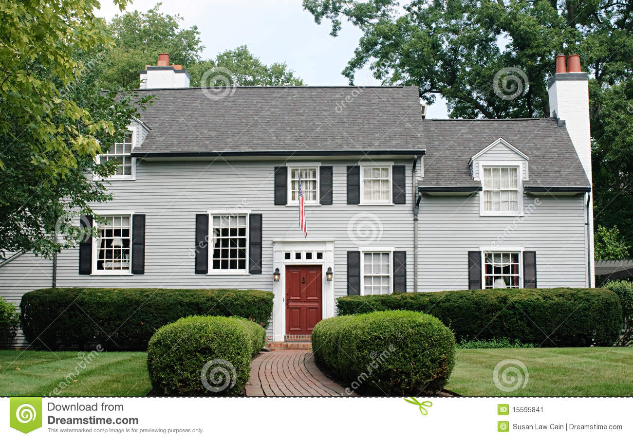 Modern House With Red Door Stock Image Image 15595841