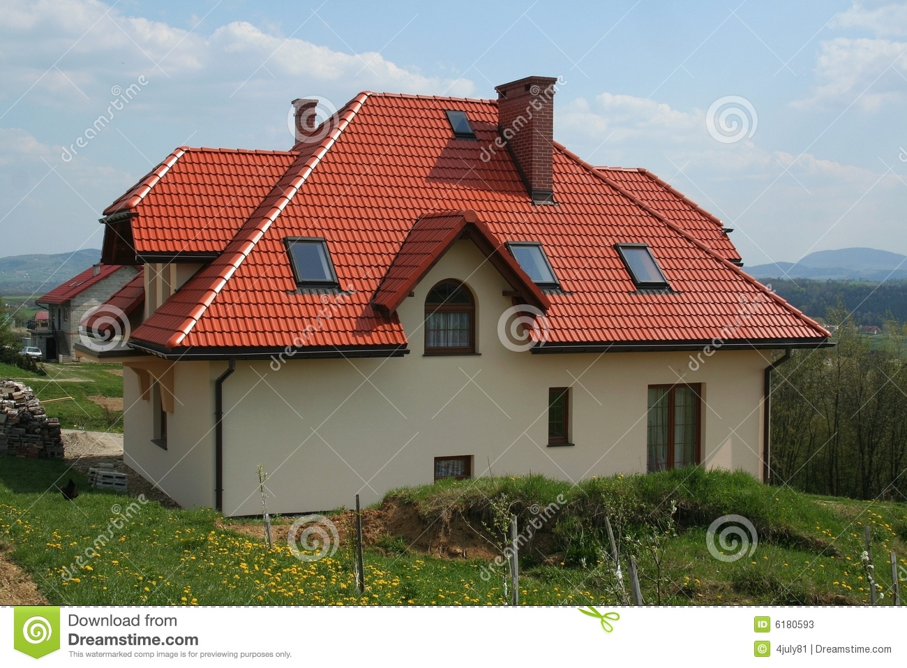 Modern house with red roof stock photos image 6180593 for Toiture maison moderne