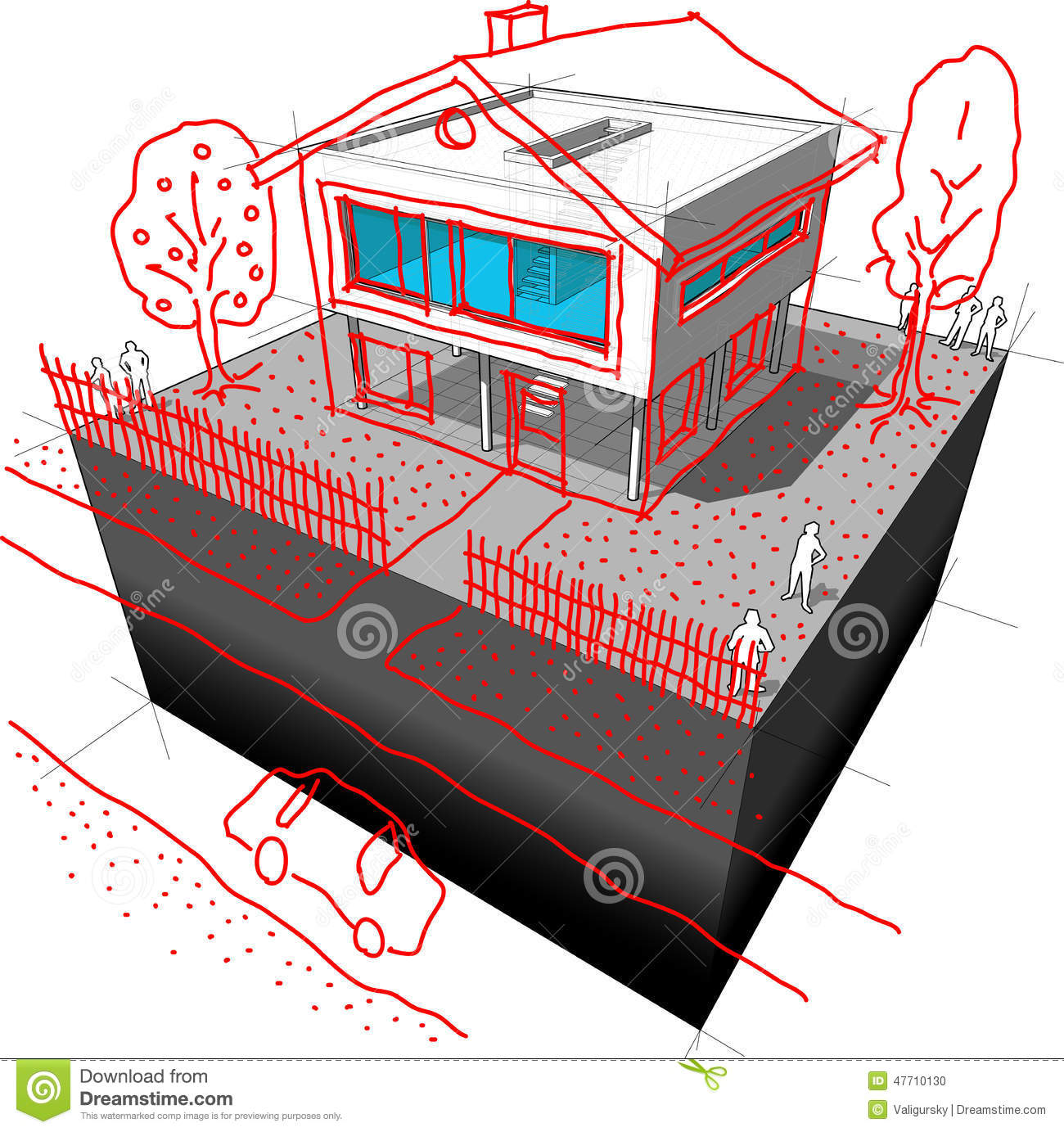 Modern House Redesign Diagram Stock Vector Image 47710130