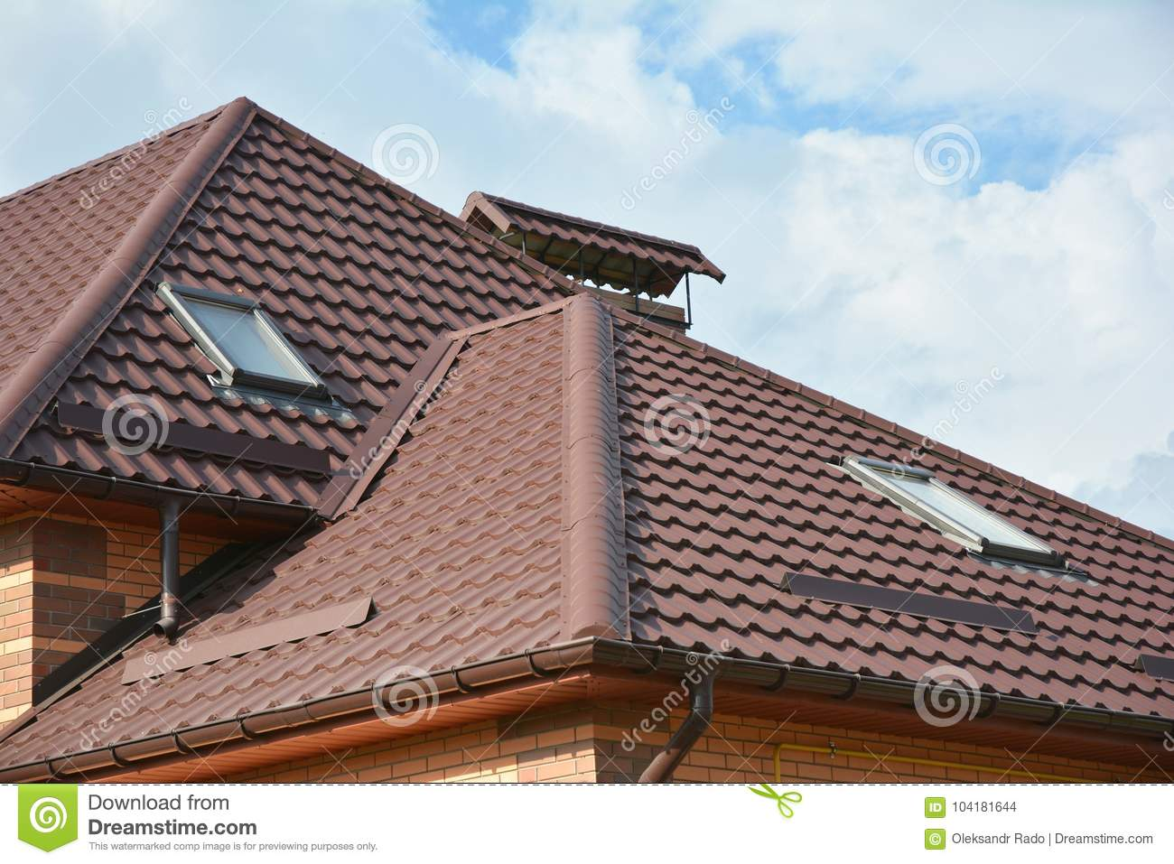 Modern House Roofing Construction With Attic Skylights, Rain