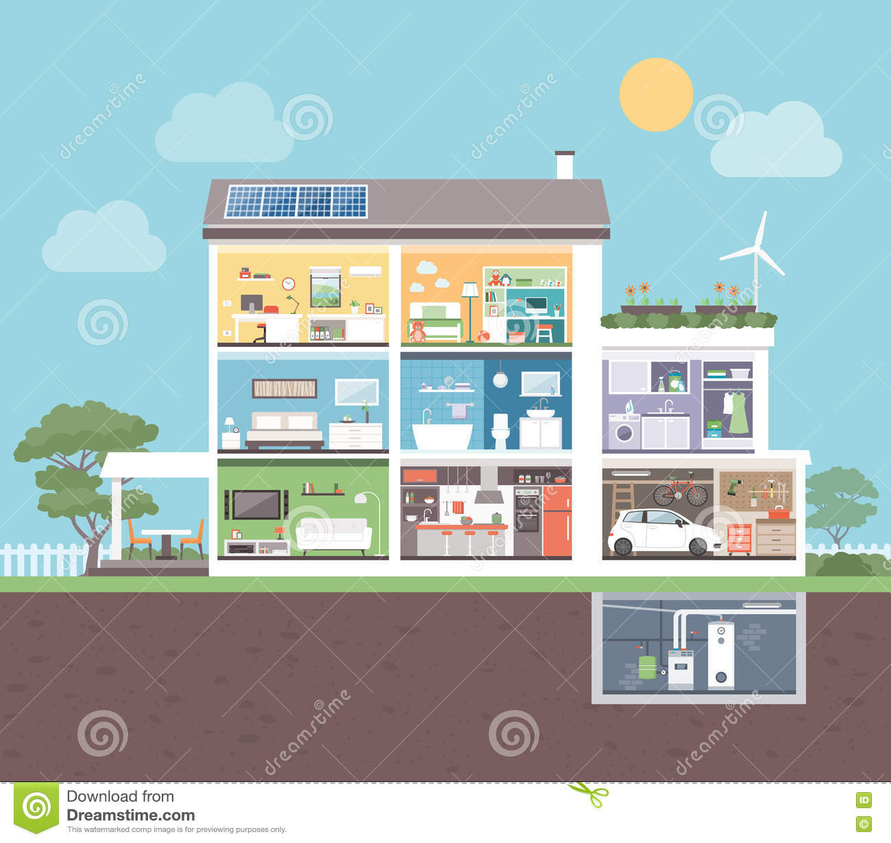 modern house with rooms stock vector