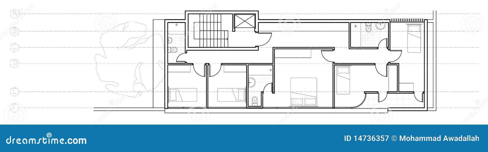 Modern house second floor plan royalty free stock - Planos de cocinas modernas ...