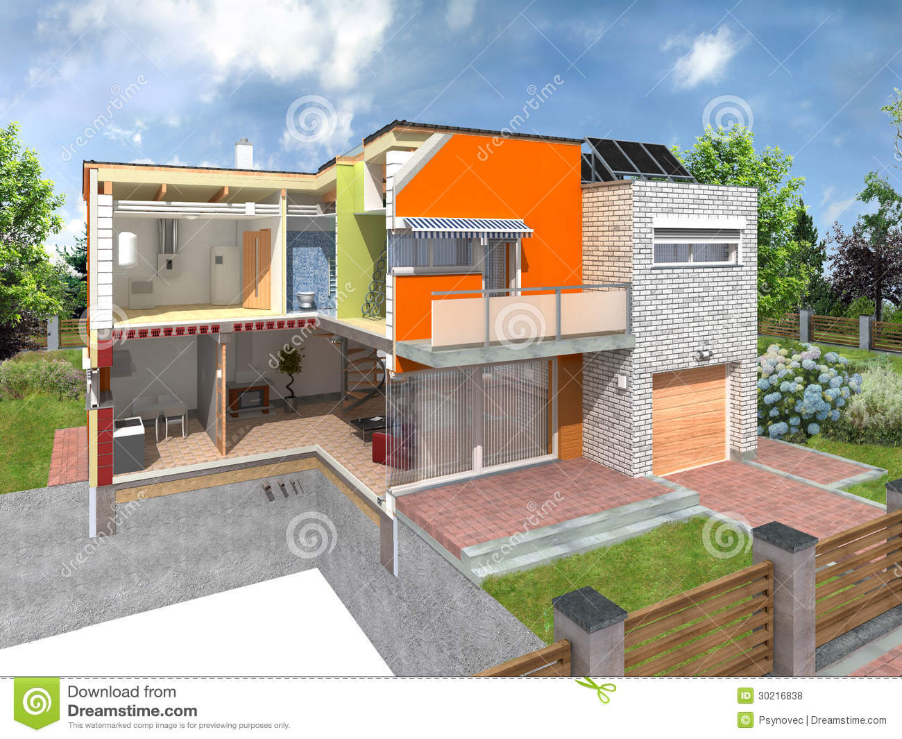 Modern house in section royalty free stock photos image for Different types of homes to build