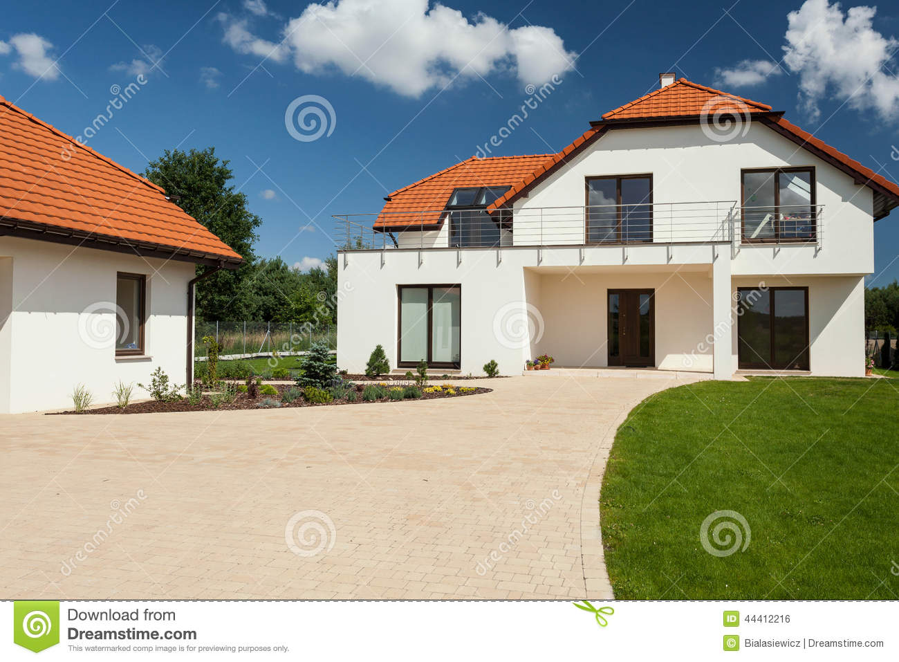 Modern house with separate garage stock photo image for Separate garage