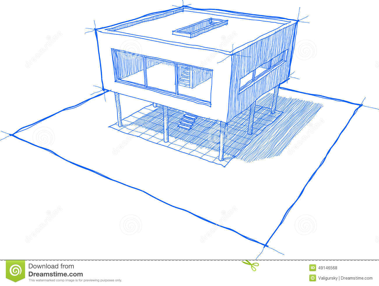 Modern house sketch stock vector image 49146568 for Architecture modern house design 2 point perspective view