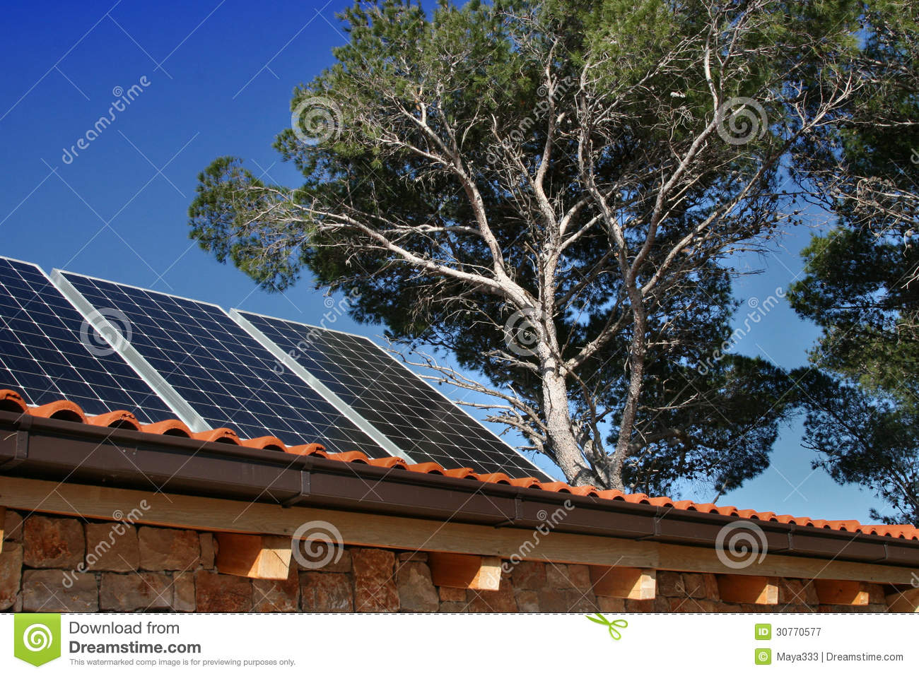 Modern House With Solar Panels Royalty Free Stock
