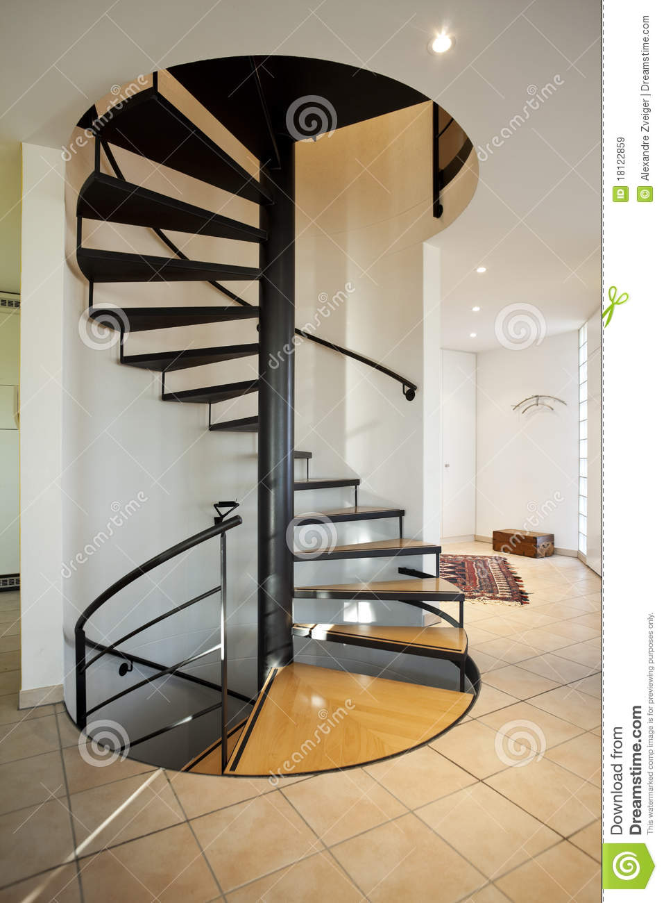 Modern house spiral staircase stock image image of for Spiral staircase house plans