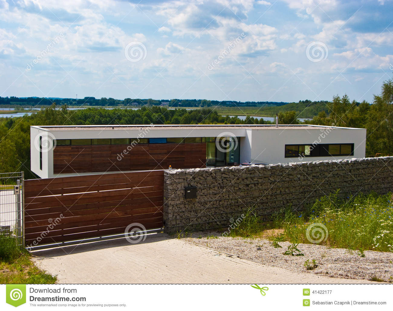 Modern House With Stone Fence Stock Photo - Image: 41422177