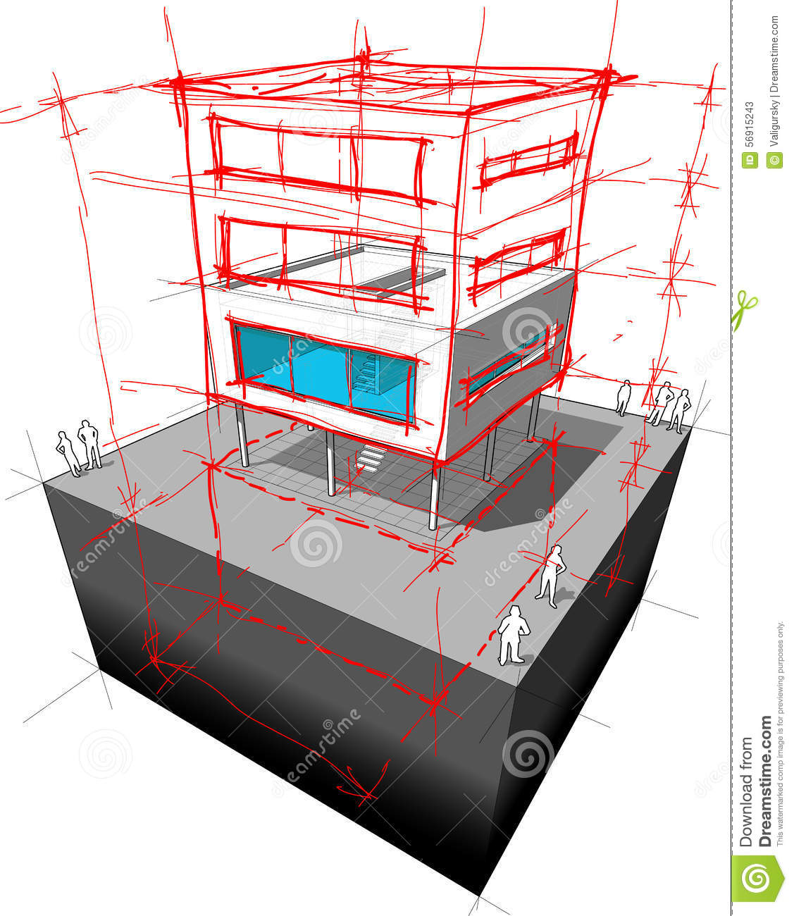 Modern house story addition diagram stock vector image for Modern house schematic