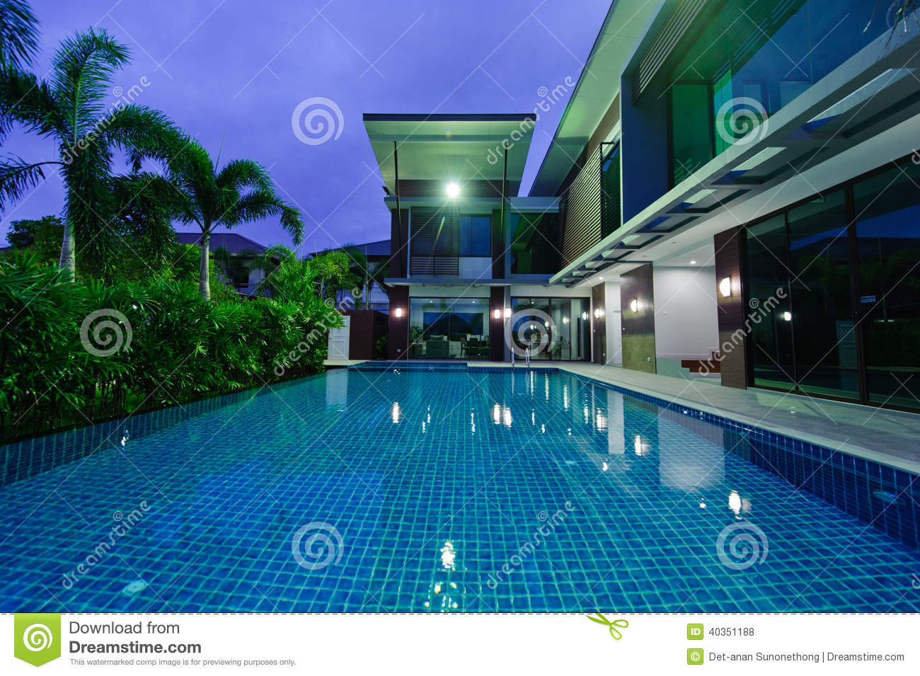 Modern House With Swimming Pool At Night Stock Photo Image 40351188