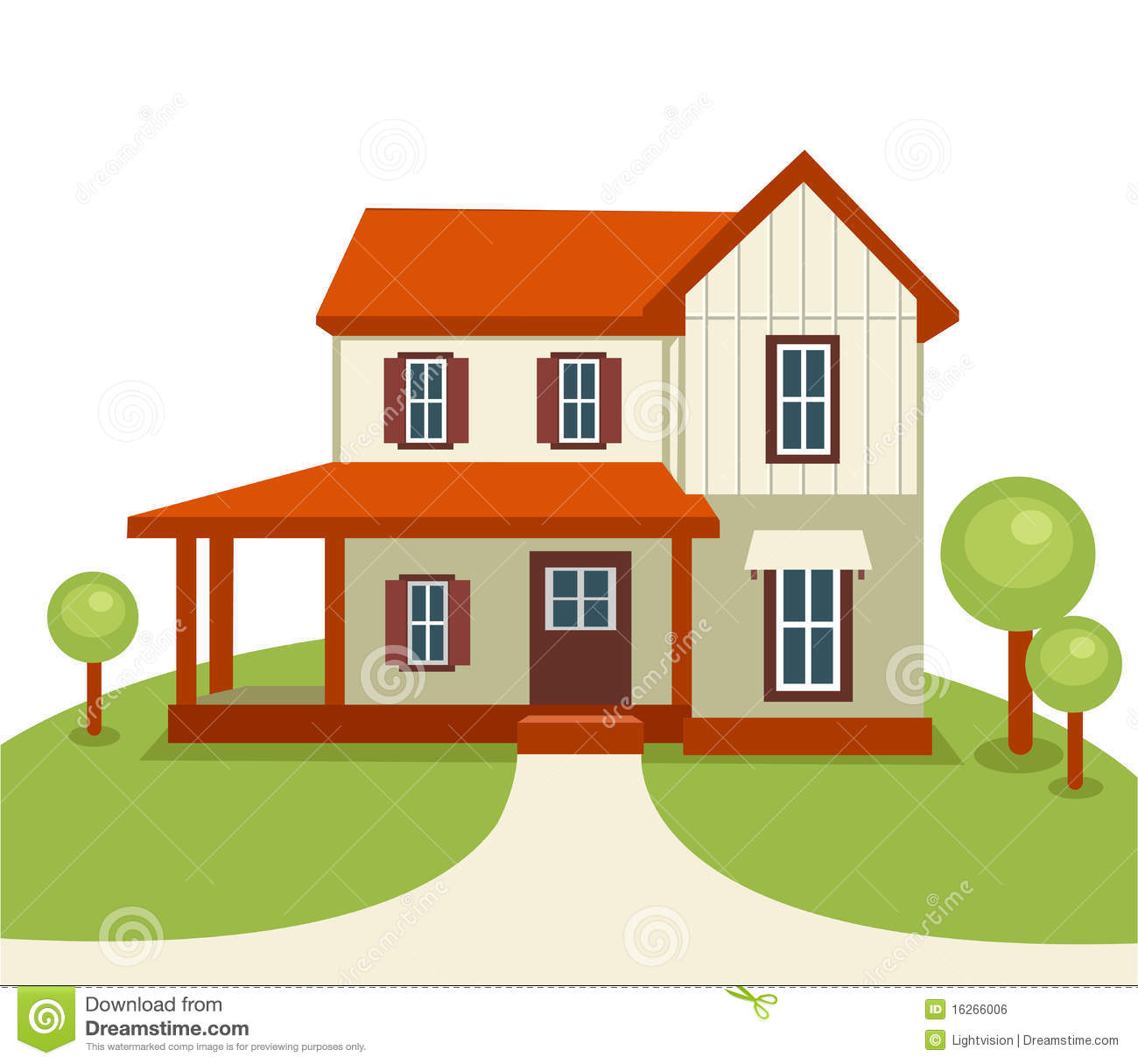 Modern House With Trees And Grass Royalty Free Stock Image Image