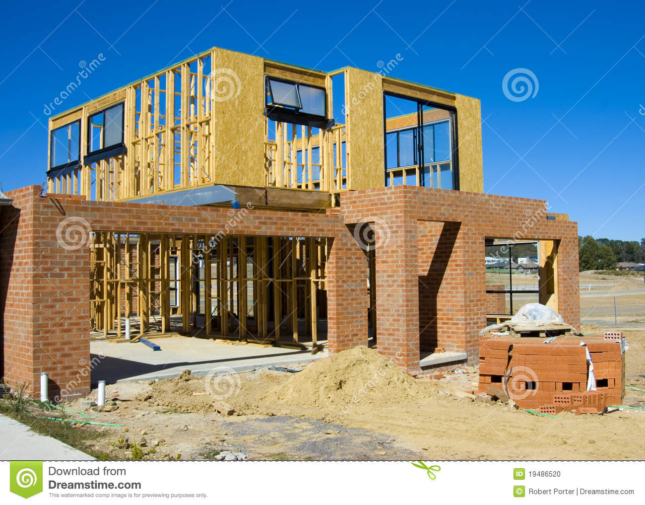 Modern house under construction stock photo image 19486520 Contemporary home construction