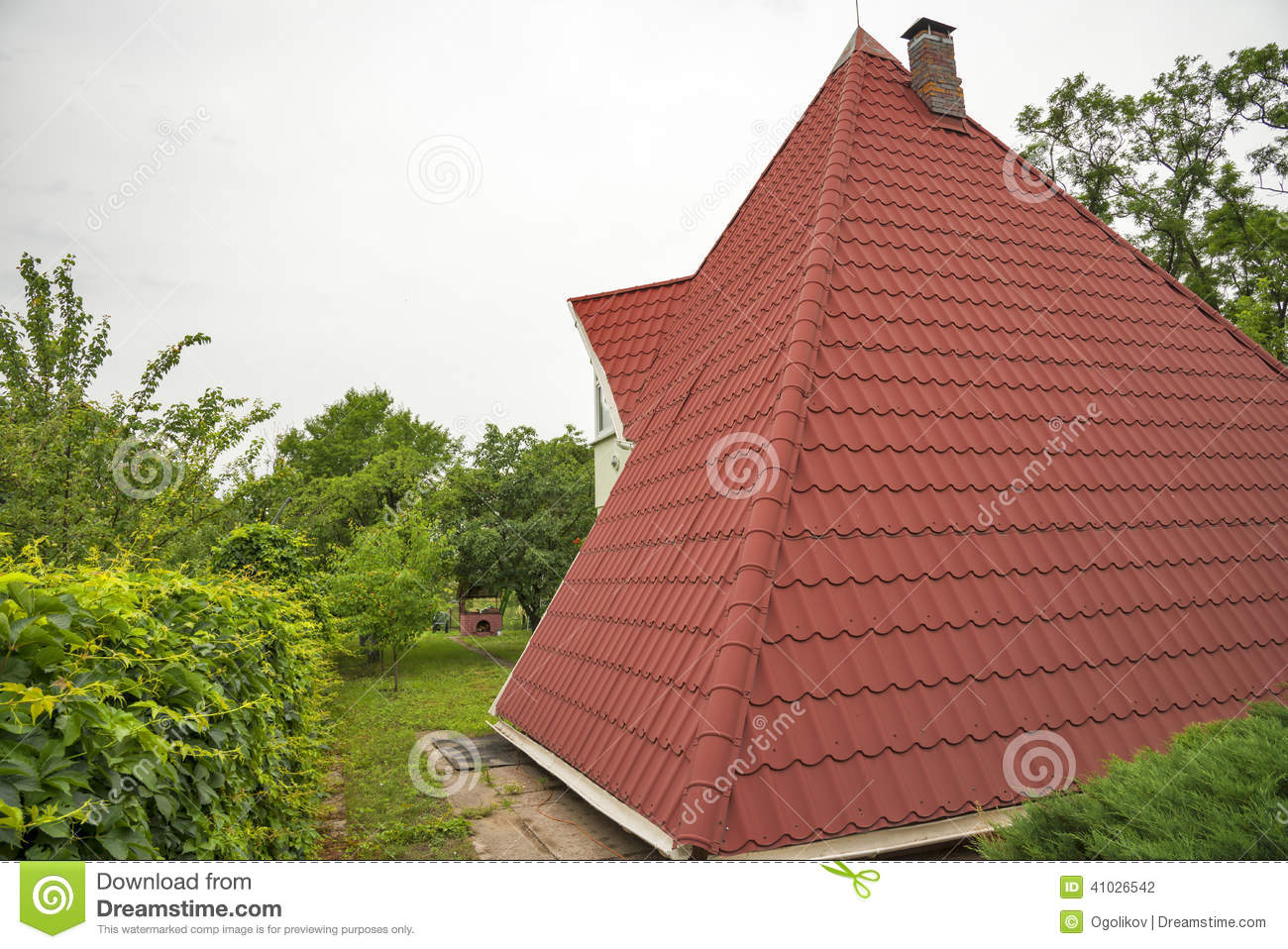 Modern House Under A Red Modern Roof Stock Photo Image
