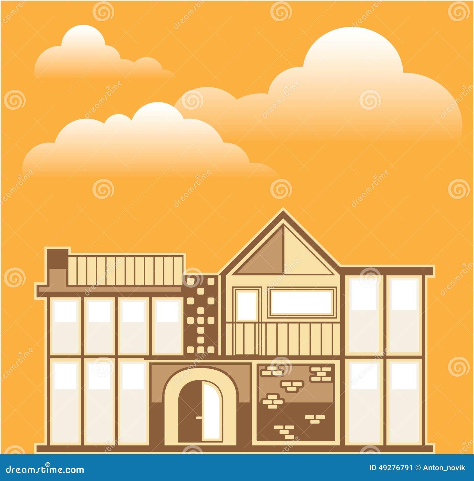 Modern house vector simplistic stock vector image 49276791 for Modern house clipart