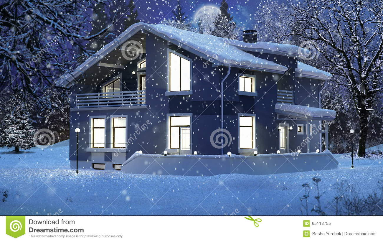 Modern House In A Winter Christmas Scene Stock Video