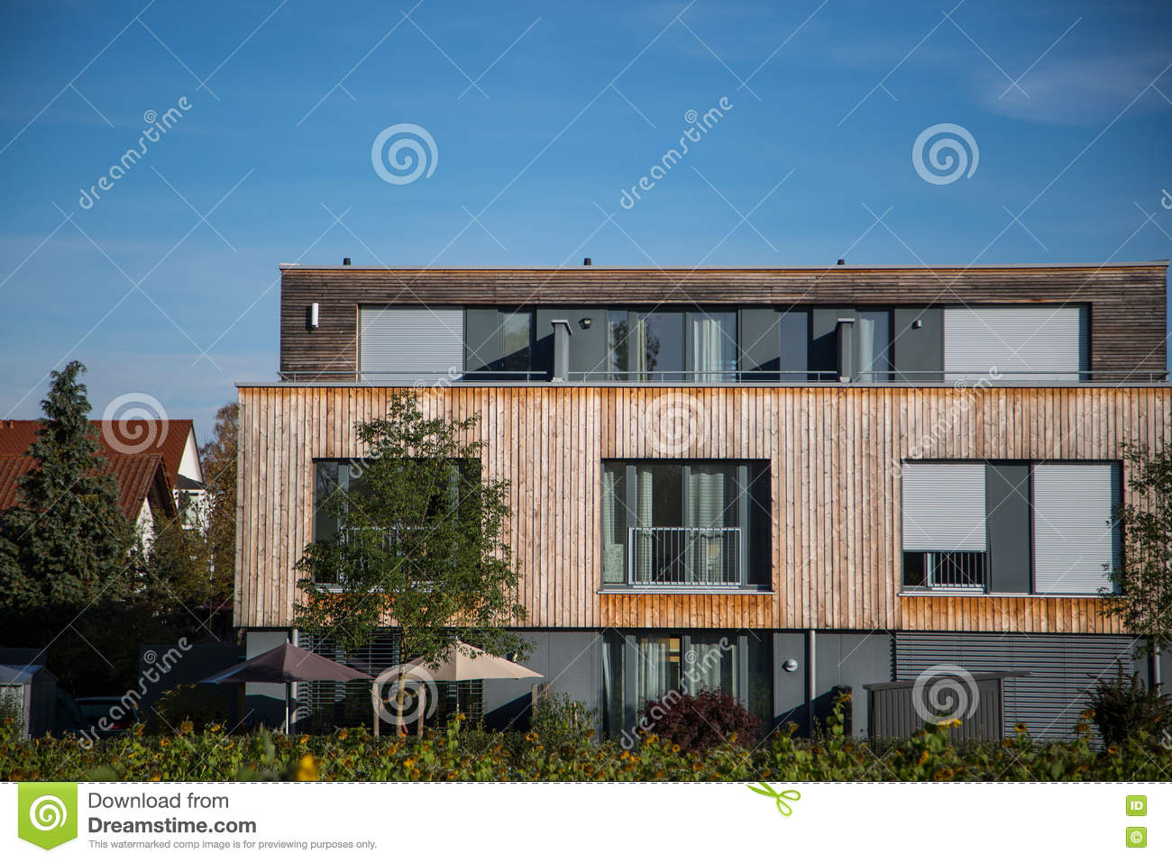Modern house with wooden cladding wooden facade wooden house