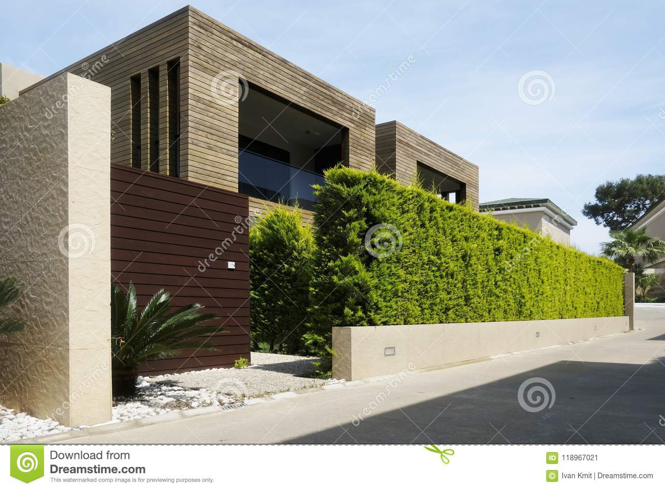 Modern Houses With Green Plant Wall Stock Image Image Of Green
