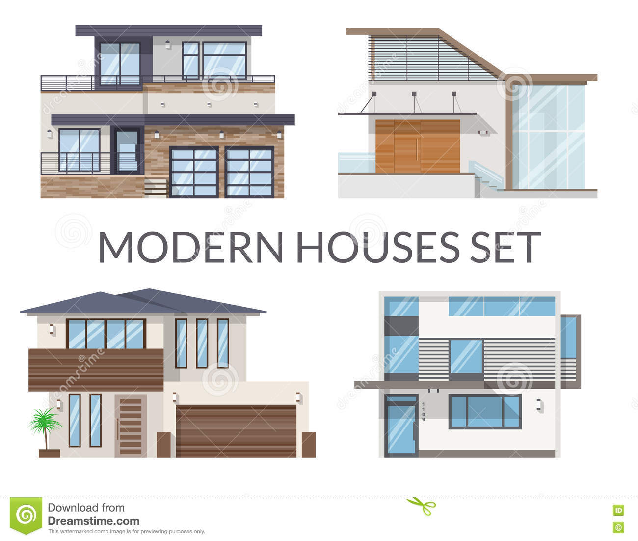 Modern houses set real estate signs in flat style