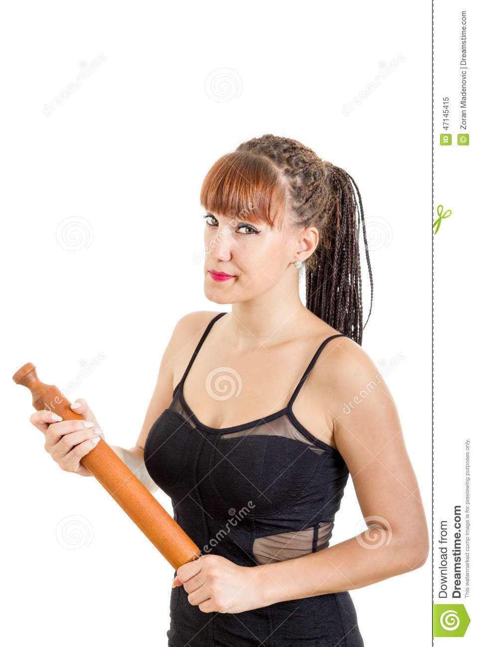Modern housewife holding rolling pin wearing black dress for Modern housewife