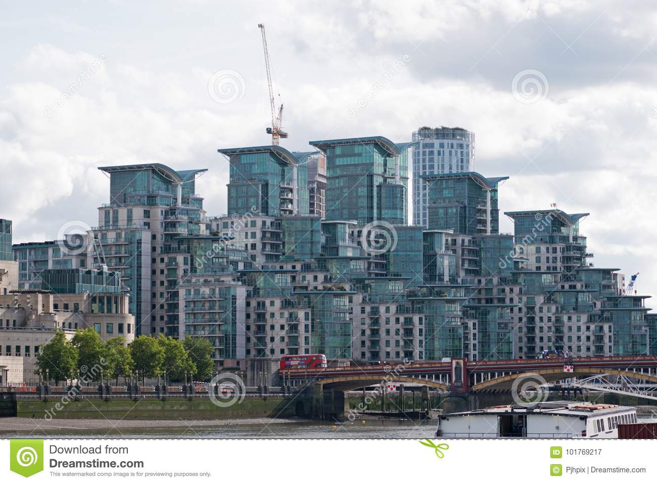Modern housing blocks on the banks of the river thames in central london at vauxhall