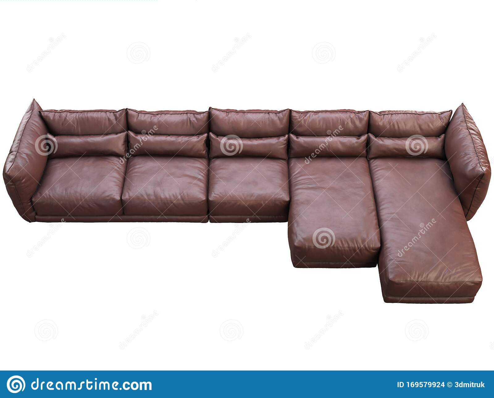 Modern Huge Brown Corner Leather Sofa With Chaise Lounge 3d Render Stock Illustration Illustration Of Bauhaus Dark 169579924